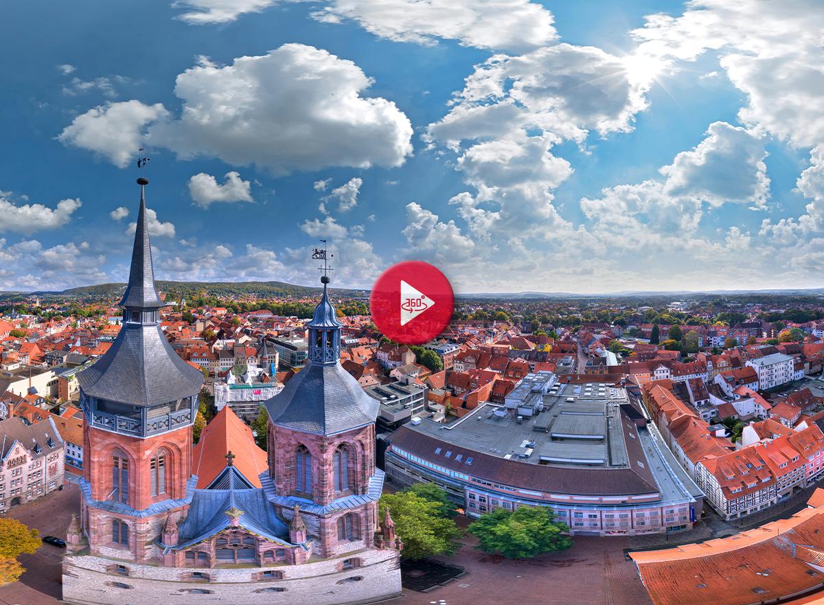 360 Grad Luftpanorama Foto Luftbild Johanniskirche Göttingen