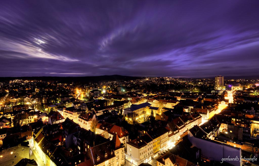 Fotogenes Göttingen | Ausblick vom St.-Jacobi Kirchturm nach Sonnenuntergang