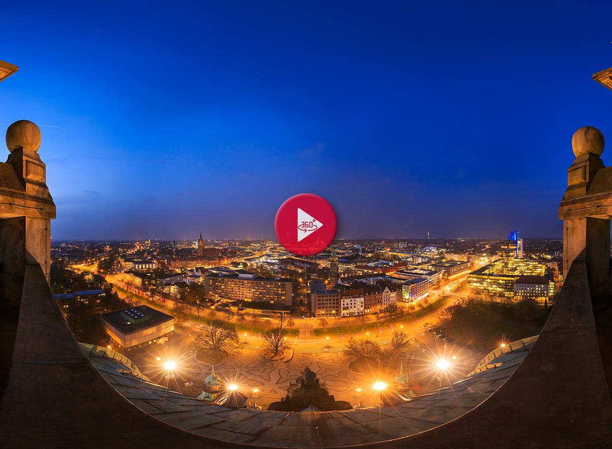 360 Grad Luftpanorama Foto Luftbild Rathauskuppel Hannover