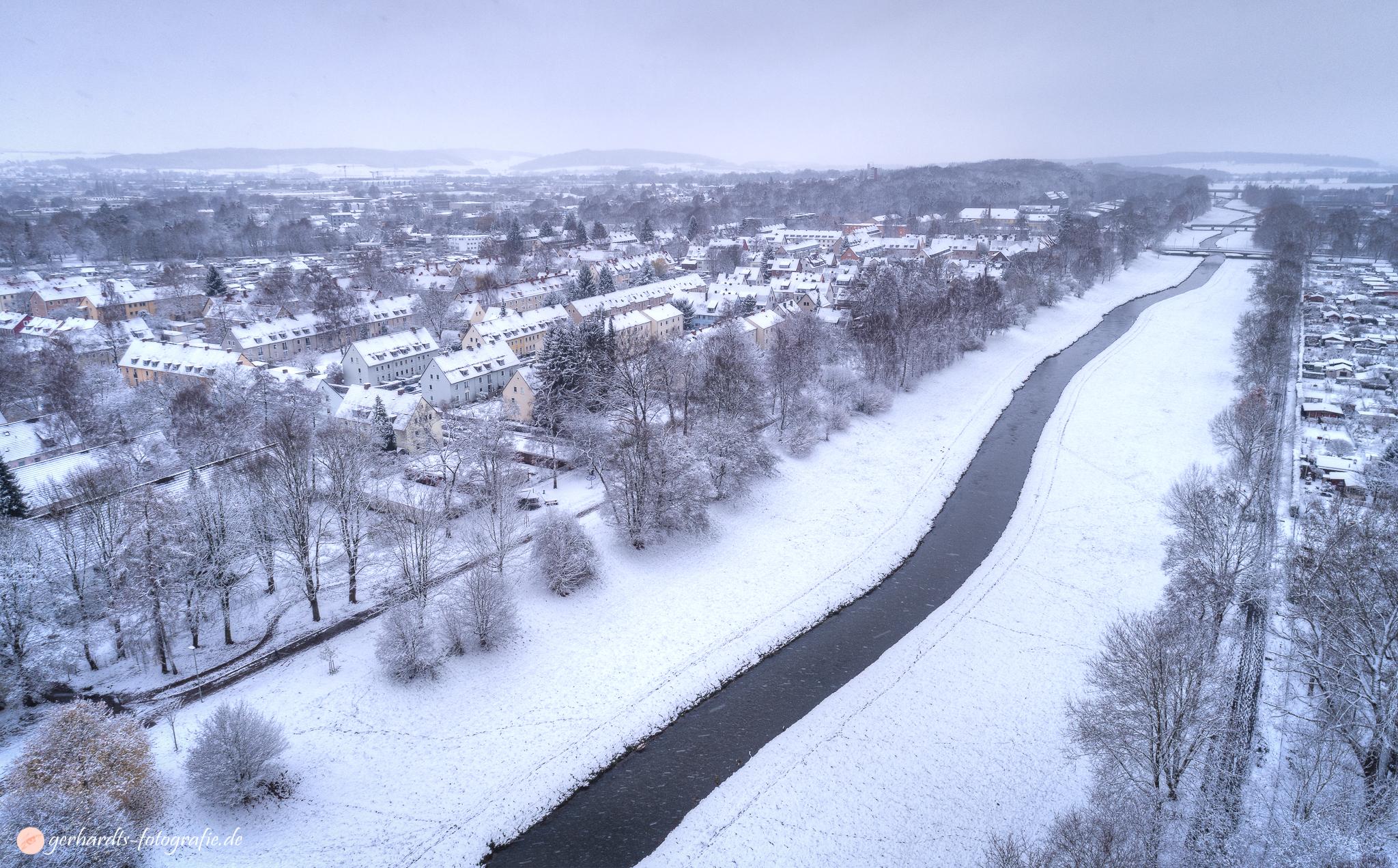 Weststadt Göttingen im Schnee Luftbild