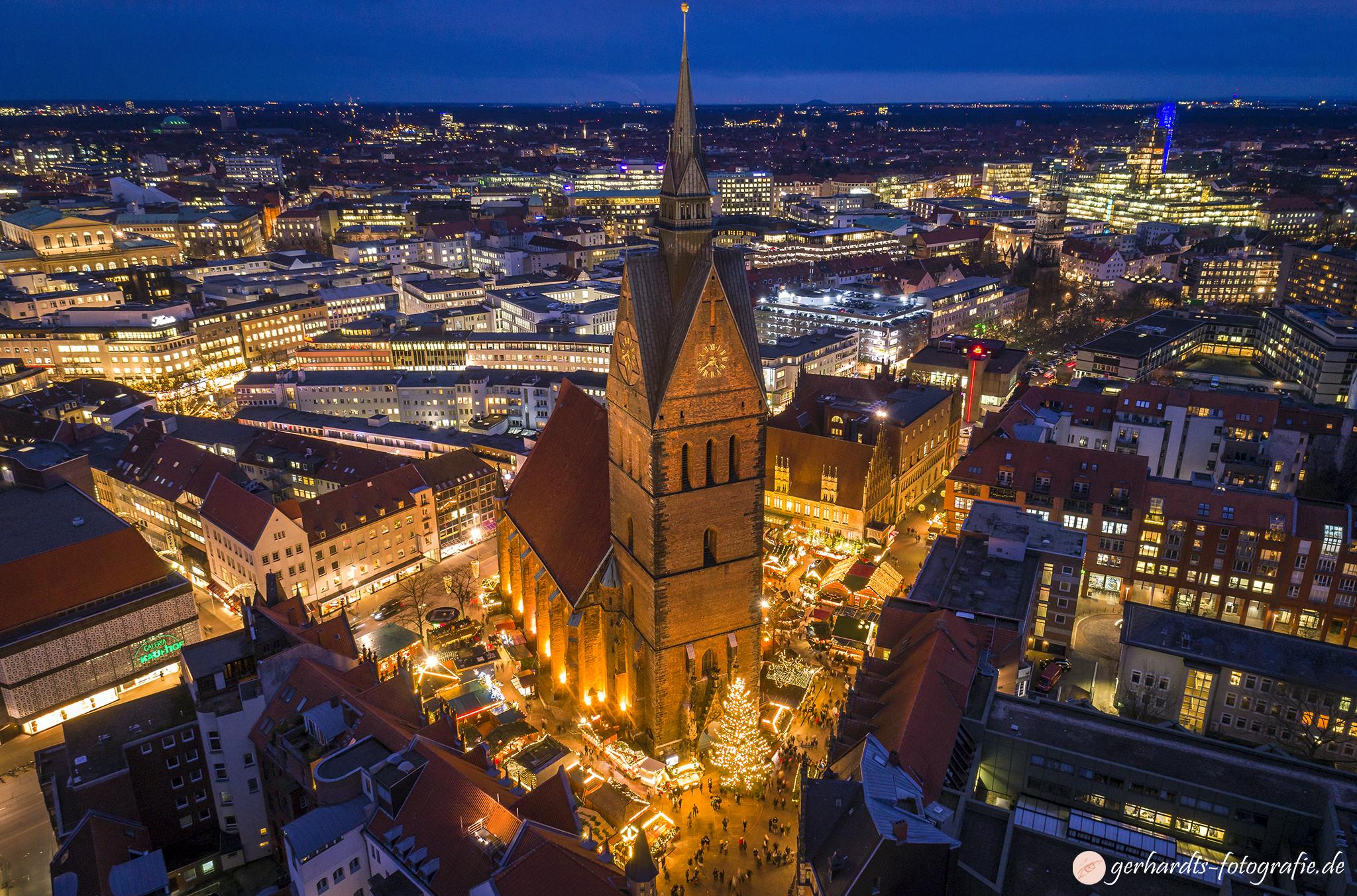 Weihnachtsmarkt Marktkiche Hannover Luftbild