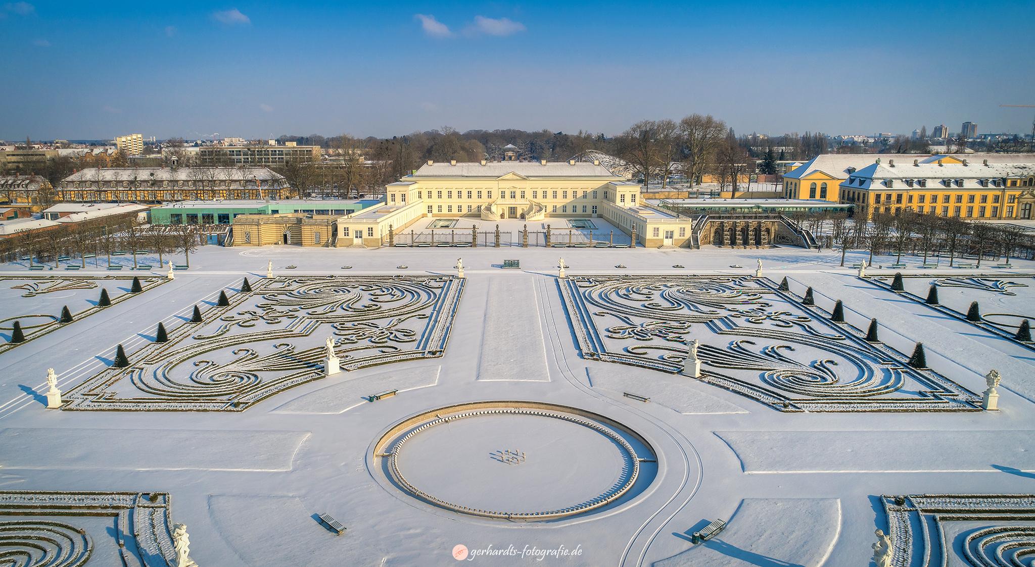 Herrenhäuser Gärten im Winter Luftbild